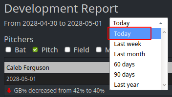 Dev Report Today Option