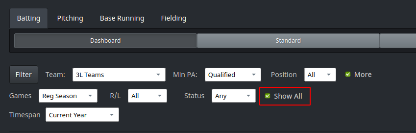 Show All option on Player Stats